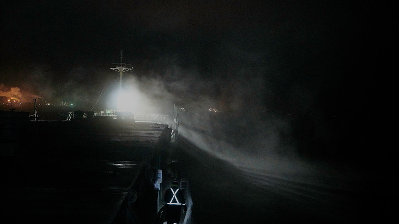 Linesman<br /> Our predawn arrival at Sorel Quebec is amidst a carpet of wonderous velvety seasmoke