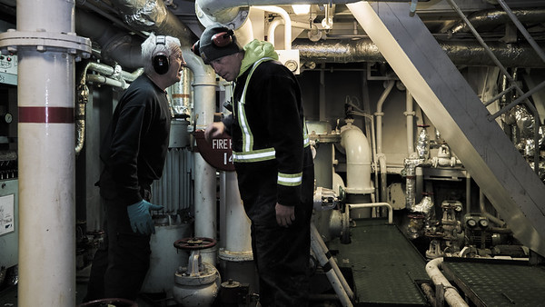 Engine Room Conversation Communication is challenging amongst the constant noise of the equipment required to keep the ship's systems fully functioning.