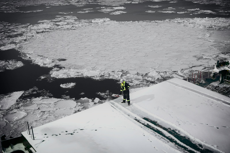 Untitled<br /> The work of keeping the hatches clear of ice and snow is constant in this year of early ice and snow. Aside from the additional weight, hatches must be cleared so that they may open and have no dangerous accumulation that may slide off on a worker's head when in a vertical position.