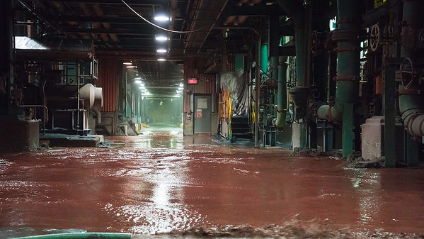 Ground Zero Waste water flows through the basement of the Concentrator Plant.