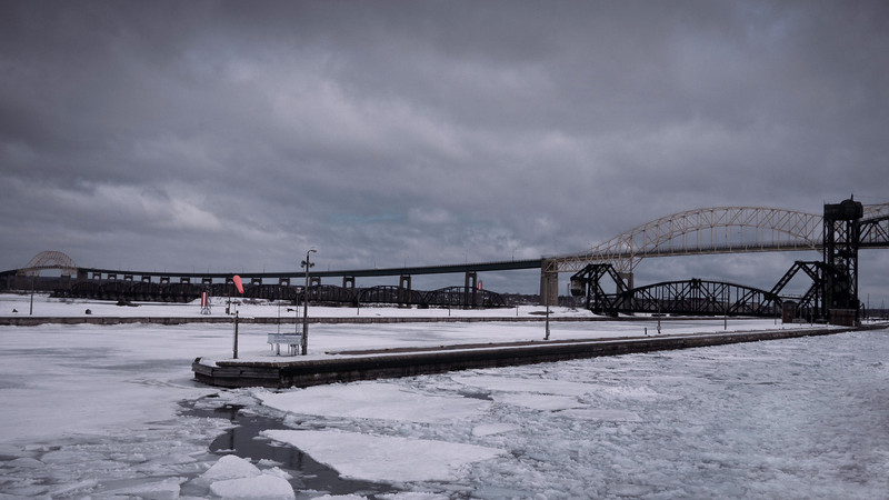 Sault Ste. Marie International Bridge<br /> Leaving the Soo Locks in March as part of the first group of boats in the spring.