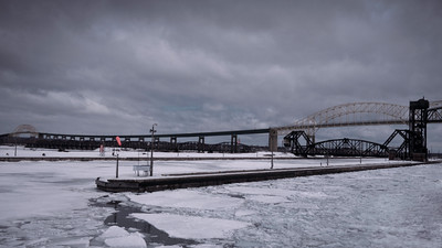 Sault Ste. Marie International Bridge Leaving the Soo Locks in March as part of the first group of boats in the spring.