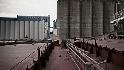 Silos The port of Thunder Bay is important due its location on the north shore of Lake Superior. Grain from the west is shipped by rail to the port for transportation by ship to domestic and international markets.