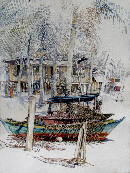 """Duyong Besar, Malaysia,<br /> watercolour,<br /> 11"""" by 14"""""""