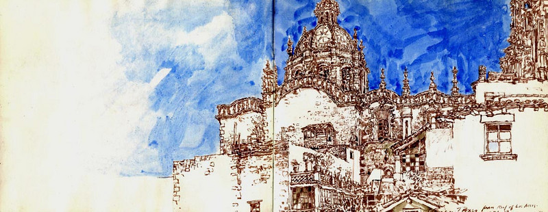 "Santa Prisca, Taxco,<br /> watercolour, ink,<br /> 19"" by 17.5"""
