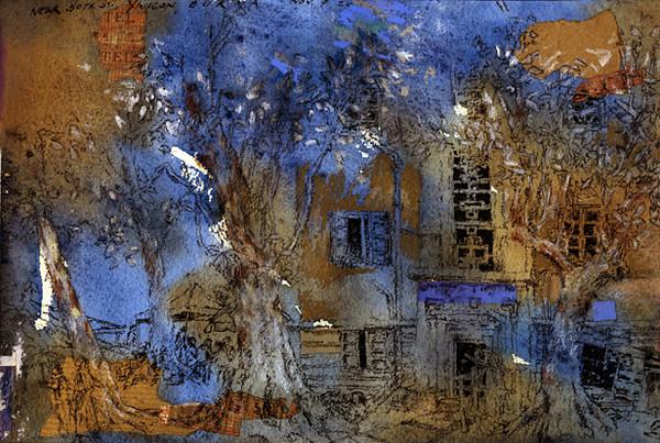 "Near 50th Street, Yangon, Burma<br /> Watercolour, collage, sepia, coloured pencil,<br /> 11"" by 7.5"""