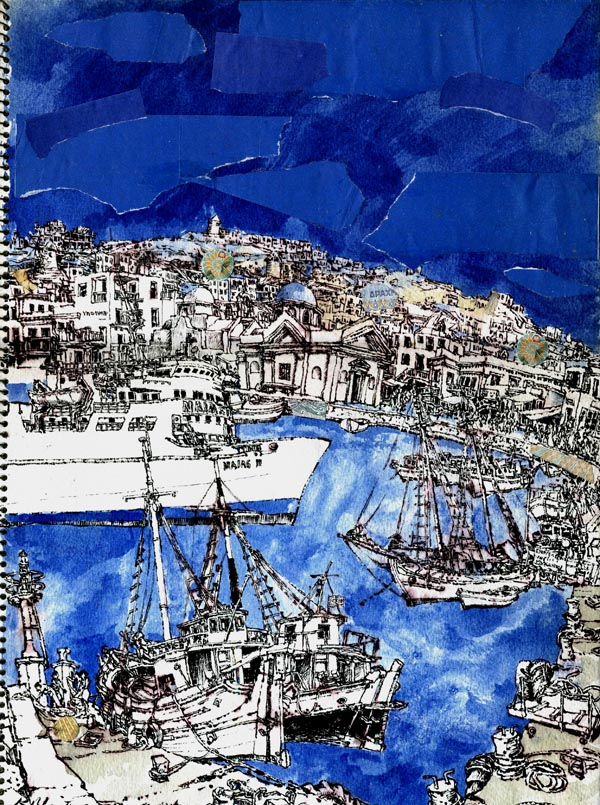 """Mykonos Harbour, Greece,<br /> watercolor, collage, ink,<br /> 15"""" by 11"""""""
