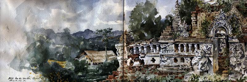 "Near Sao Ku, Hsipaw, Burma<br /> Watercolour<br /> 22"" by 7.5"""