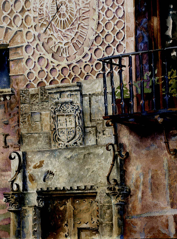 """The Sundial, Segovia, Spain,<br /> watercolor,<br /> 13"""" by 8"""""""