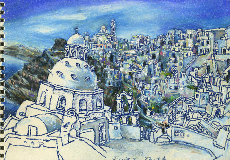 """Thira, Greece<br /> oil  pastel, water colour<br /> 9.5"""" x 7"""""""