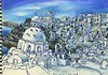 "Thira, Greece<br /> oil  pastel, water colour<br /> 9.5"" x 7"""