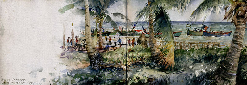 "Kep, Cambodia, <br /> watercolour,<br /> 8.5"" by 22"""