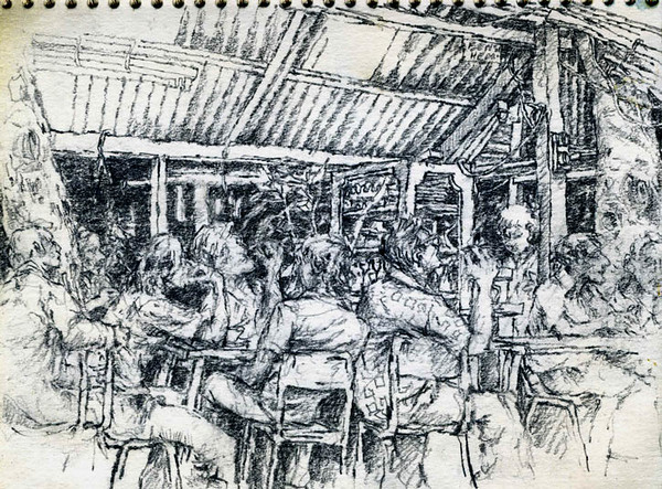 """Cafe, Kuala Terengganu, Malaysia,<br /> graphite,<br /> 4.5"""" by 6"""""""