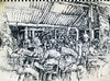 "Cafe, Kuala Terengganu, Malaysia,<br /> graphite,<br /> 4.5"" by 6"""