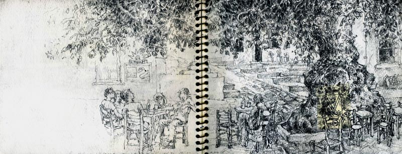 "Cafe on Tinos, Greece,<br /> graphite,<br /> 5"" by 14.5"""