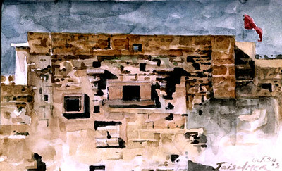 """Jaisalmer, India,<br /> watercolor,<br /> 4"""" by 7"""""""