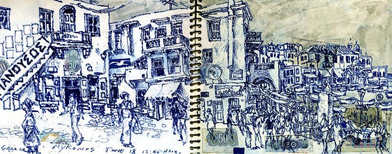 """Mykonos, Greece<br /> ink, water colour, pencil<br /> 14.5"""" x 5"""""""
