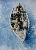 Boatmen, Haiti,<br /> Watercolor,<br /> 28in. by 20in.