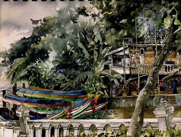 """Klong Banglamphu, Bangkok,<br /> watercolour,<br /> 12"""" by 9"""""""