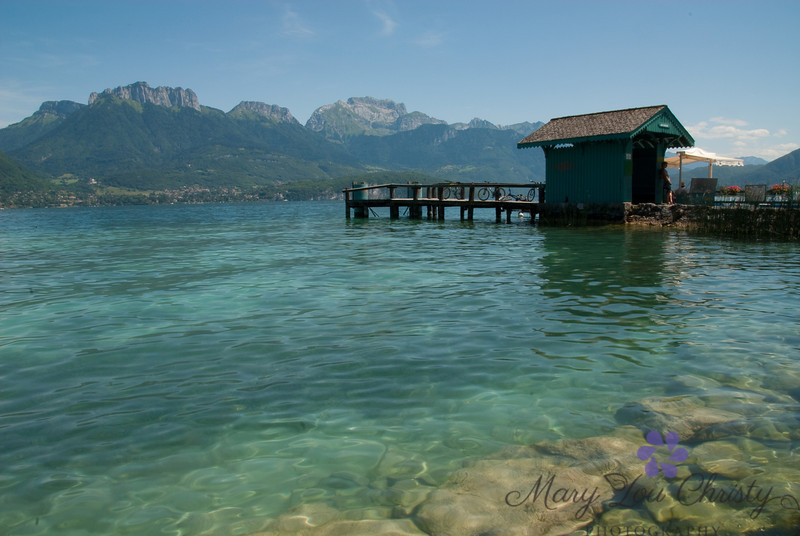 Clear waters of the cleanest lake in Europe, Lake Annecy, France.