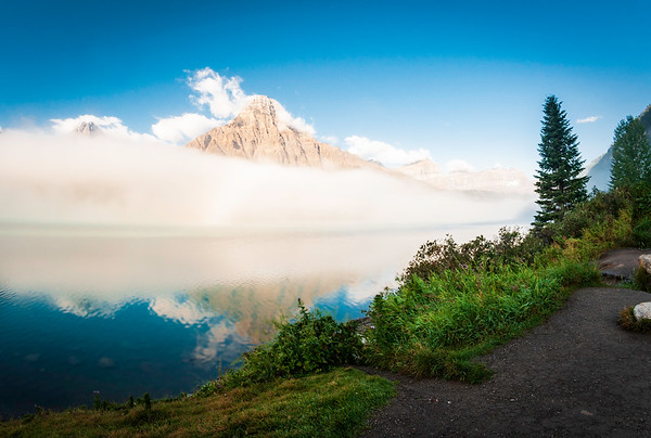 Fog over Bow Lake