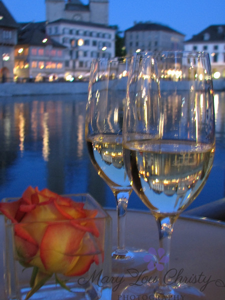 Luckily we were drinking white wine this evening in Zurich!