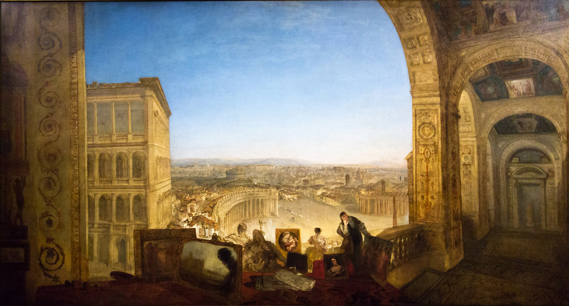 Rome, From the Vatican. Rafaelle accompanied by La Fornarina, preparing his pictures for the decoration of the Loggia, exhibited 1820