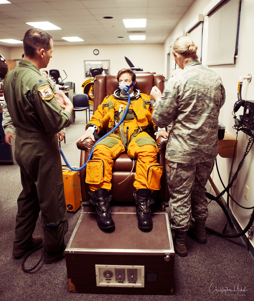 Christopher Michel pre-breathing oxygen prior to full suit-up.