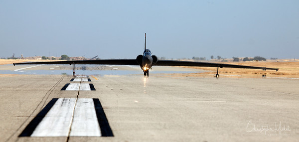 The U-2 prepares for takeoff.  The wing gear will fall away at take-off.