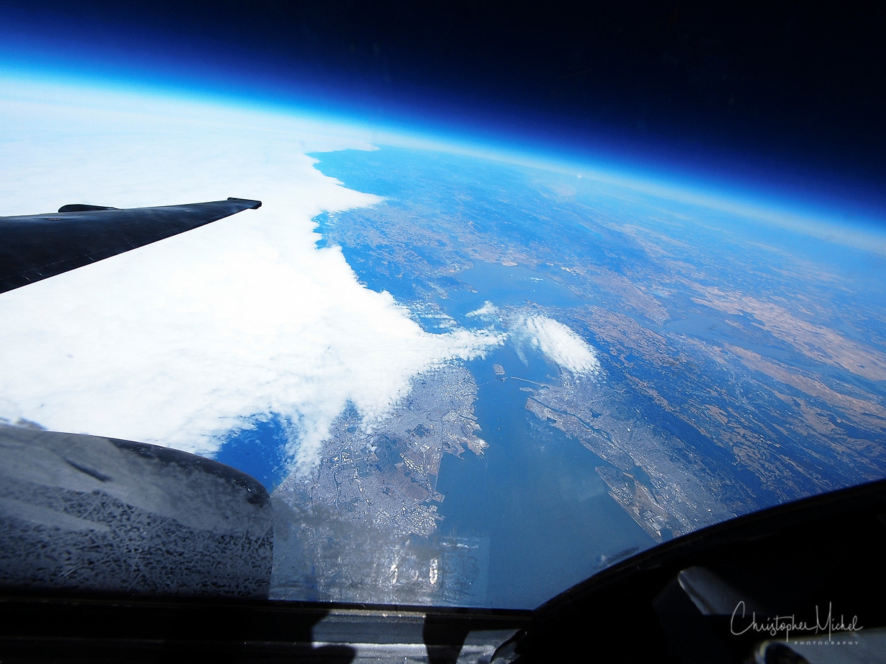 """And for the ultimate """"look-down"""" view of our fair city.  San Francisco from the edge of space aboard a U-2 Spy Plane."""