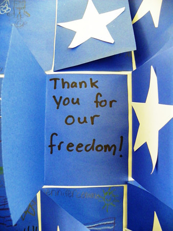 Scores of flaps reveal the same statement of gratitude from every child