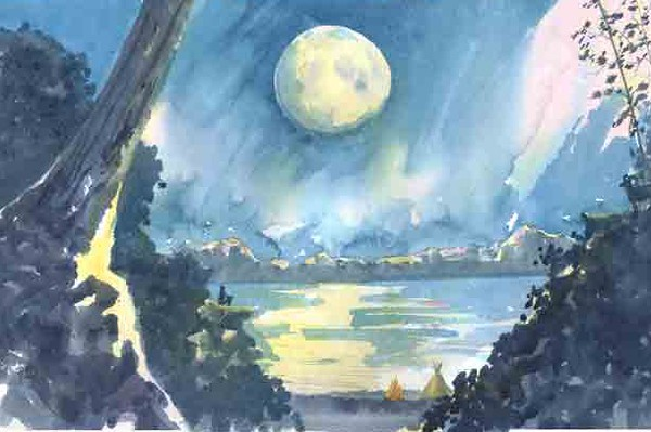 White Moon<br /> <br /> This painting was done in preparation for a children's story that will be submitted to a publisher.  The story is written by a local artist and good friend with illustrations being done by myself.  This is the last illustration for the book. <br /> <br />  A young Indian boy, whose name is White Moon (see him on the rock beneath and to the left of the moon), sits quietly above his tribe's encampment, staring up at the full moon, finally at peace with his place in his community and in the world.<br /> <br /> Medium:  Watercolor on Hot Press Watercolor Paper