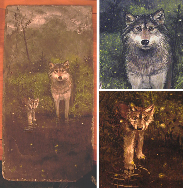 Wolves and Fireflies<br /> After receiving sheets of barn roof slate from my Aunt in Zelienople, Pennsylvania, I painted the mother and baby wolves.<br /> The color of the slate made it wonderful to do a nighttime painting.  I left a lot of the original color as is and pulled the fur and other images out of it.  A clear acrylic gloss finished off the piece.  It sold to a local client.<br /> <br /> Medium: Acrylic on 100 Year Old Barn Slate