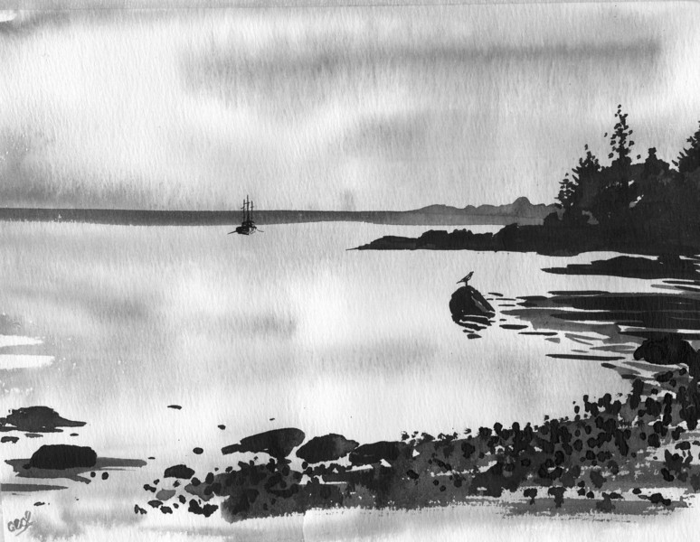 Ship and Bird at Shore<br /> <br /> This pen and ink study of the Maine coastline was done in the studio from reference photos after walking the Maine coastline. <br /> <br />  There is such quiet beauty there.  It was amazing to see how little color there was that morning because of the surrounding fog that was just starting to lift.<br /> <br /> Black india ink was an easy choice for capturing the moment.<br /> <br /> Medium: Black India Ink on Hot Press Watercolor Paper edit