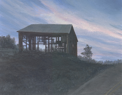 Peggy's Barn<br /> <br /> There's a barn in Murrysville, Pennsylvania that caught the eye of a friend of mine.  There was something so beautiful and moving, especially when lit by the early morning sky, that she mentioned it to me. <br /> <br /> So, this painting was done for Peggy and her love of old barns.<br /> <br /> Medium:  Acrylic on Canvas Board