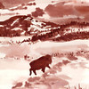 Lone Buffalo<br /> <br /> This impressionistic painting was inspired after visiting the Custer State Park in the Black Hills of South Dakota.  You get the chance to enter the park and drive through herds of the beautiful, majestic creatures.<br /> <br /> Along the way, there was one lone buffalo that kept to itself on the other side of the terrain.  It just made you stop and wonder why.<br /> The original sold at a gallery show.<br /> <br /> Medium:  Ink on Hot Press Paper