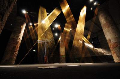 Lygia Pape,  Ttéia I, C. 2002 Installation, gold thread in square forms