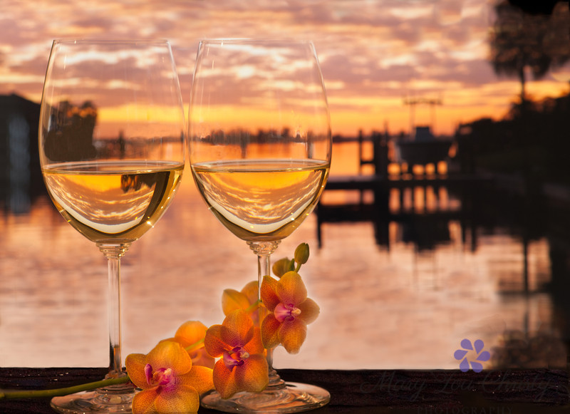Sunset glasses with orchid