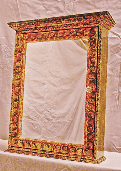 Cabinet Indian Red and Umber on Gold Background