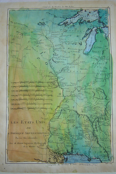 "LES ETATS UNIS  (The United States)<br /> <br /> One of a kind, Hand-Painted Reproduction of Les Etats Unis<br /> Price: $200.00<br /> <br /> All French, good detail from Lac Superieur to the mouths of the Mississippi. To south, it shows Ft. de la Pointe Coupee, R. Rouge, Ft. des Natches, Ft. St. Pierre and mentions Ft. Rosalie without the usual annotation that the Fort was destroyed (seen in our maps dated 1756 or later). <br /> <br /> In the north it shows a very large Lac Rouge, Saute St. Antoine (St. Anthony Falls), Fort St. Nicolas near the Ouisconsing (Wisconsin) R. and etc. <br />   <br /> Good detail on Fort S. Philippe, Cahokias, and several lead mines in the Ste. Genevieve area. Good detail on the Ohio River and it's tributaries. Good detail of the Apalachian Mountains, Georgie, Cherokee country, etc. <br />  <br /> More detail East of the Mississippi than West (although there is good detail for inland Minnesota). Unlike any other map, it shows the Mississippi going towards inland Minnesota and notes that the source is UNKNOWN. <br /> <br /> The maps are beautifully hand-tinted in color and in brown tones. The print on the smaller size is readable, but the larger size is much easier to read.<br /> <br /> ""For detail of the upper River, Minnesota, and east to Michigan and the Appalachian mountains, these maps are my favorites. """
