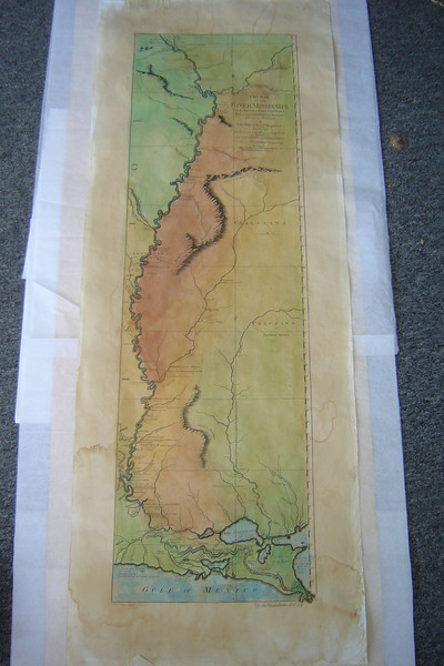 "Lt. Ross map of the Lower Mississippi River.   1765. In English.<br /> <br /> Lt. Ross Map of the Course of the Mississippi from Fort du Chartres in opposite the Missouri River to the Gulf. <br />   <br /> 44.5 x 17 inches   Hand-colored   $156<br /> 14x36"" Hand Colored   $200<br /> <br /> Lieutenant Ross' large scale map of the Mississippi is the largest format map of the Mississippi during the 18th Century, and the most detailed British Military Survey of the River. <br /> <br /> The map is based upon D'Anville's large map of 1746 and his Carte de la Louisiane published in 1752.   Shows Fort Chartes in the north, and Fort Kaskaskia. Adds substantial detail for southern portions of the map, including Pointe Coupee and Fort Rosalie<br /> <br /> ""My Lt. Ross map was wonderful. I framed it and display it next to an antique Scottish map. The artist did a beautiful, beautiful job!"" ~ Texas."