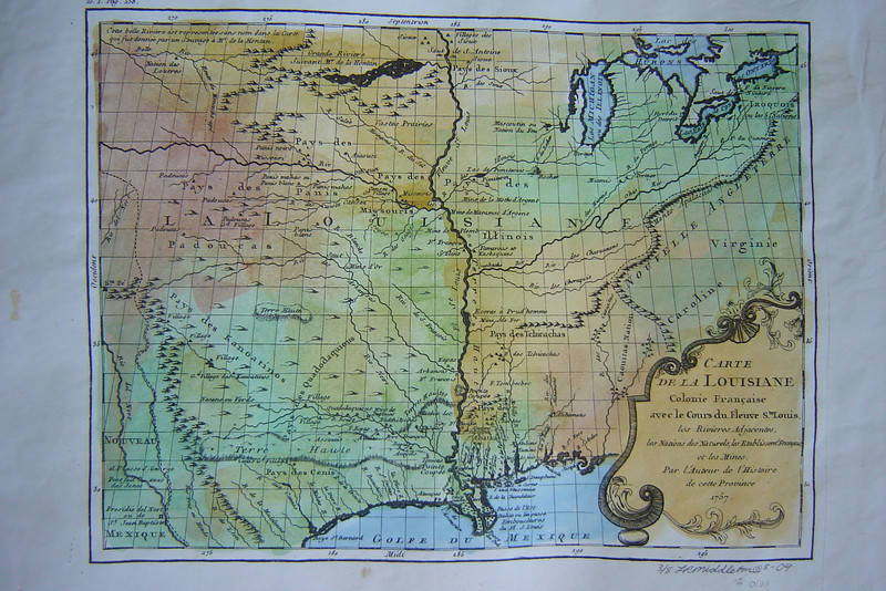 Carte de La Louisiane, Colonie Francaise, avec le Cours du Fleuve St. Louis (Mississippi River). 1757<br /> Map Maker, Antoine Page du Pratz, Paris.<br /> Scarce map of the Louisiana Territory, based on Page du Pratz's account of Louisiana, including the travels of an Indian named Monchacht-ape.<br /> <br /> Extensive detail of the Missouri River Valley, Texas, and the Mississippi River. Notes French colonies, Indian nations and villages, lead mines, the Appalachians, and adjacent rivers.<br /> <br /> Hand-painted reproduction  ...  $126<br /> Gift Print available