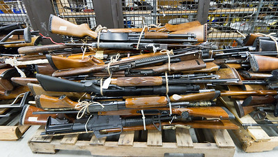 Weapons seized by the L.A.P.D. sit in a property room before being destroyed.