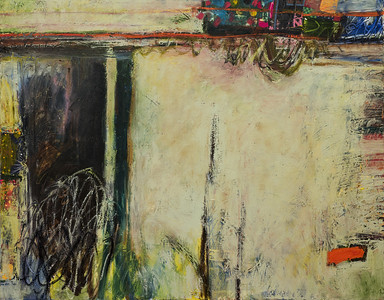 """""""You Can Always Call This Home, no. 6""""; 38"""" x 46""""; oil & collage on canvas"""