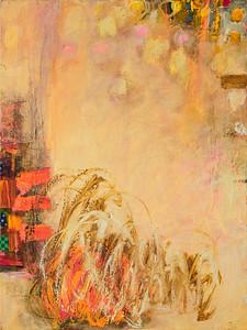 """Still, no. 3""; 24"" x 18""; oil & collage on canvas"