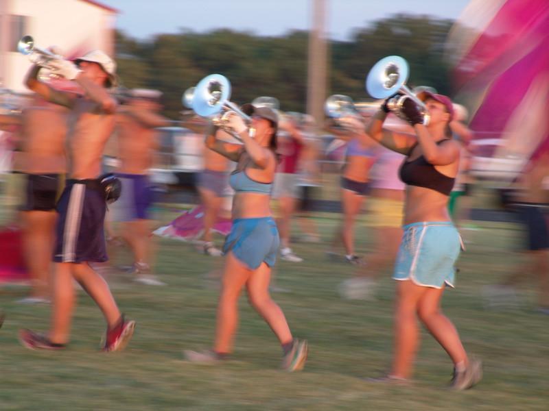 Horn line practice.