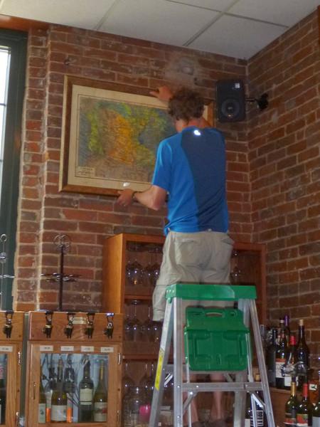 Scott working on Wine Buys display.