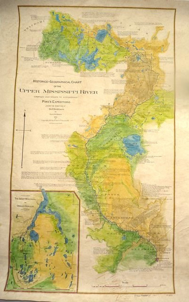 Zebulan Pike Geo-Historical map of the upper reaches of the Mississippi River, inset by Brower of Lake Itasca region.  1895<br /> <br /> This is a beautiful, large format rendition of this map, which is replete with notes from Pike's journals of his voyage of discovery in 1806.