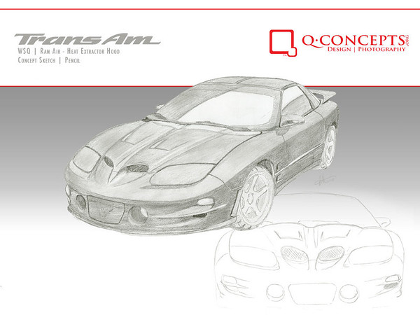 The original concept sketch for the WSQ hood. I wasn't happy with the selection of aftermarket hoods for the 4th Gen Firebirds and Trans Ams, so I designed my own.   The intake 'nostrils' are enlarged and flow with the curves of the body. The pair of heat extractors on the cowls draw hot hair out of the engine bay.  Working with VFN Fiberglass in Illinois, this hood went through a lengthy development period and went into production in 2011.  The WSQ hood can be ordered through http://www.vfnfiberglass.com/