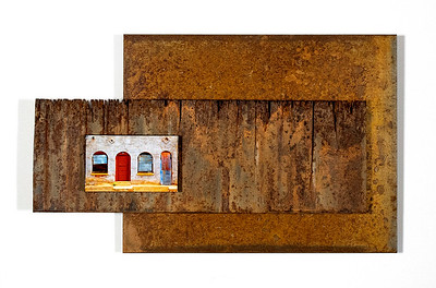 Barrio Doors, 14x8 inches, 3 layers. Rusted, Recycled Steel